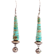 Sterling Southwest Turquoise Heishi & Bench Bead Drop Earrings