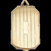 Classy Art Deco Engraved Rectangular Locket Gold Filled
