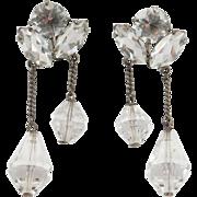 Japanese Silver Quartz Drop Earrings Art Deco Dangling