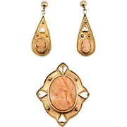 Antique 10K Carved Coral Cameo Brooch Pendant & Earrings Set