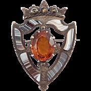 Victorian Scottish Montrose Agate Silver Shield Cairngorm Kilt Pin