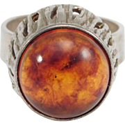 Swedish Hallmarked Amber Silver Ring Victor Jansen Modernist