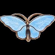 Aksel Holmsen Sterling Norwegian Enamel Butterfly Pin 925S