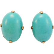 Chinese Silver Turquoise Vermeil Earrings Old