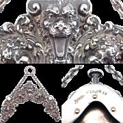 The Best Kerr Art Nouveau Purse Frame Ever Sterling Cherubs & Gothic Face C. 1910