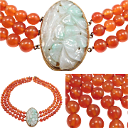 Antique Carved Jade & Triple Strand Carnelian Beads Necklace