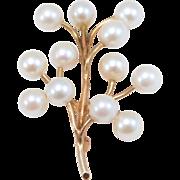 14K Estate 6mm Cultured Pearl Cluster Brooch 6.3 Grams