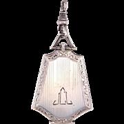 Elegant Engraved Art Deco Sterling Silver Locket