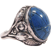 Sterling Art Deco Scarab Ring Egyptian Revival 1920'S