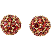 14K Estate Domed Earrings Pave Almandine Garnets