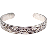 Beautiful Ornate Sterling Engraved Cuff Bracelet