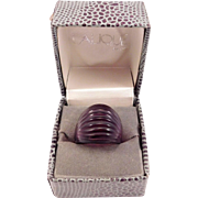 Elegant Lalique Frosted Amethyst Crystal Ring In Original Box