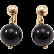 14K Art Deco Black Onyx Ball Screwback Earrings