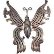 Ornate Mexican Silver Butterfly Brooch Taxco Serafin Moctezuma