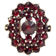 Old Rose Cut Garnets Cluster Ring Swedish Silver
