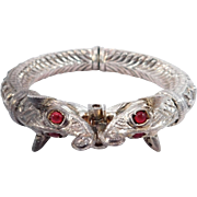 Ornate Old Repousse Silver Elephants Bangle