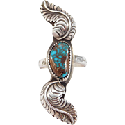 Beautiful Signed Pilot Mountain Turquoise Silver Ring