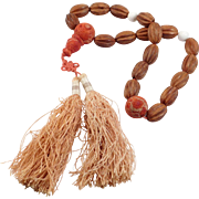 Unusual Chinese Carved Wood & Sponge Coral Prayer Bead Necklace