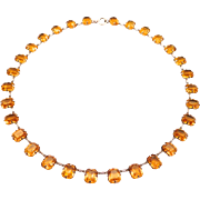 Sterling Art Deco Open Backed Amber Crystals Necklace