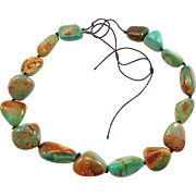 Polished Royston Turquoise Beads Nugget Necklace