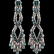 Ornate Long Zuni Petit Point Turquoise & Silver Earrings