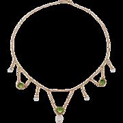 Art Nouveau 14K Peridot & Seed Pearl Festoon Necklace