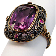 14K Victorian Silver & Gold Amethyst Ring Rubies Pierced Work Stunning