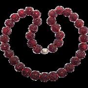 Beautiful Art Deco Carved Cherry Amber Bakelite Beads