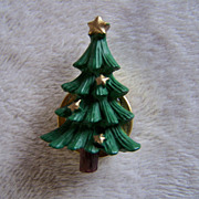 SALE REDUCED ~ CHRISTMAS TREE Button Cover ~ Enamel Tree With Sweet But Simple Decorations