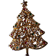 SALE REDUCED ~ AA1 CHRISTMAS TREE Brooch ~ 14K Gold Plated Tree With Tiny Rhinestone ...