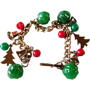 SALE REDUCED ~ CHRISTMAS CHARM Bracelet ~ Vintage Bells, Christmas Trees, And Red & Green ...