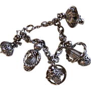 SALE 10KT White Gold Plated Charms ~ Vintage Funky Caged Filigree, Bell-Shaped Charm Bracelet