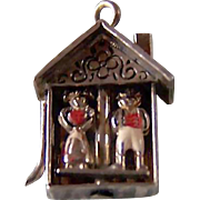 SALE LAMPL Weather House Charm ~ Sterling Silver, Circa 1940's ~ Movable Relic Of ...
