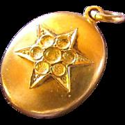 SALE Antique 14KT GF LOCKET ~ Oval With Star Pattern In Original Paste Gems ~ ...
