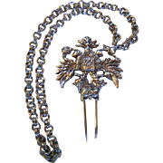 SALE Fenwick & Sailors ~ Sterling Silver Heraldic Symbol  ~  Watch Chain/Dress/Uniform/Hat