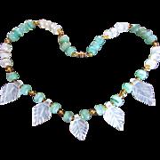 SALE Jade/Jadeite ~ Vintage White & Green Translucent Jade Beads A La Gorgeous