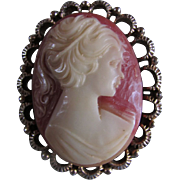 SALE CAMEO  ~~  Reticulated Framed, Exquisitely Carved Faux CAMEO Brooch
