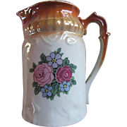 SALE BAVARIAN Cream Pitcher ~ Copper Top Trim With Roses ~ Terrific Antique Condition