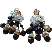 SALE HOBE CHANDELIER BEAD Glamour EARRINGS !!  Beads Galore !! Exquisitely  Glamorous Clip On