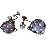 SALE Vintage Victorian Revival ~~ Pretty Pink Pearls In A Dangly Filigree Gold Basket ~ ...