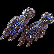 SALE Vintage GLAM SHOULDER DUSTERS ~~ Rhinestone/Crystal CHANDELIER Clip-On Earrings ~~ Circa