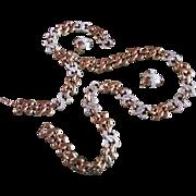 SALE GIVENCHY Gorgeous PARURE ~ Crystal KISSES 'N HEARTS Vintage Necklace, Bracelet & Clip On