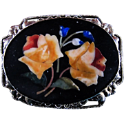 SALE Gorgeous 1800s Italian Pietra Dura Coral Rose Brooch With Beautiful Inlays & ...