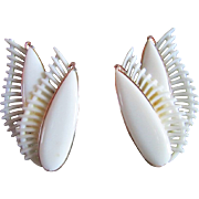 SALE White Plastic/Lucite Wing-Like Earrings ~ WEST GERMANY  CLIP-ONS ~~ Double Wings ...