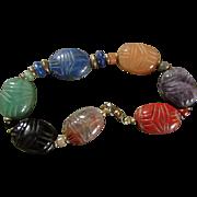 SALE JADE, ETC SCARAB Bracelet au Naturale  ~~ Finest Oriental Scarab Beetles Carved In Natura