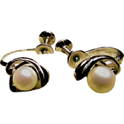 SALE MIKIMOTO Cultured PEARL Earrings With A Sterling Silver Swoop ~ Oo La La !! Vintage ...