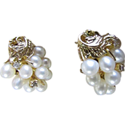 SALE MIKIMOTO Cultured Pearl Earrings With Omega Backs In A 14K Gold Plated Setting Vintage ..