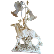 SALE Vintage Resin Equestrian SideSaddle HORSEWOMAN LAMP ~ Sculptured Grande Dame Table Lamp .