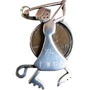 SALE GOLFER PIN ~ Leonore Doskow LUCKY LADY GOLFER Award Brooch/Pin ~ 1976 Lucky ...