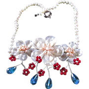 SALE Elegant Mother of Pearl Floral Bib-Style Necklace With Lavish Embellishments Of Pinkish .